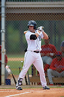 Detroit Tigers Kona Quiggle (12) at bat during an Instructional League game against the Philadelphia Phillies on September 19, 2019 at Tigertown in Lakeland, Florida.  (Mike Janes/Four Seam Images)