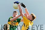 Barry Mahony Kerry in action against Danny Griffin Clare in the Munster Minor Quarter Final at Austin Stack Park Tralee on Wednesday night.