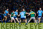 Tom O'Sullivan Kerry in action against  Niall Scully and John Small Dublin during the Allianz Football League Division 1 Round 3 match between Kerry and Dublin at Austin Stack Park in Tralee, Kerry on Saturday night.