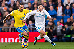 Michel Macedo Rocha Machado of UD Las Palmas (L) fights for the ball with Marco Asensio Willemsen of Real Madrid (R) during the La Liga 2017-18 match between Real Madrid and UD Las Palmas at Estadio Santiago Bernabeu on November 05 2017 in Madrid, Spain. Photo by Diego Gonzalez / Power Sport Images