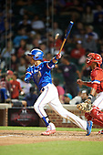 Kevin Vargas (1) of International Baseball Academy in La Mareas de Salinas, Puerto Rico at bat during the Under Armour All-American Game presented by Baseball Factory on July 29, 2017 at Wrigley Field in Chicago, Illinois.  (Mike Janes/Four Seam Images)