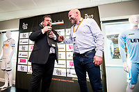 ( L-R )  Kevin Johns and former player Andy Robinson <br /> Re: Behind the Scenes Photographs at the Liberty Stadium ahead of and during the Premier League match between Swansea City and Bournemouth at the Liberty Stadium, Swansea, Wales, UK. Saturday 25 November 2017
