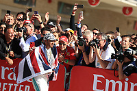 3rd November 2019; Circuit of the Americas, Austin, Texas, United States of America; Formula 1 United States Grand Prix, race day; Mercedes AMG Petronas Motorsport, Lewis Hamilton comes in second but celebrates his 2019 world championship F1 driver win - Editorial Use