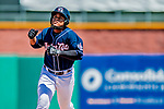 18 July 2018: New Hampshire Fisher Cats designated hitter Juan Kelly rounds the bases after hitting a two-run homer in the bottom of the 9th inning against the Trenton Thunder at Northeast Delta Dental Stadium in Manchester, NH. The Thunder defeated the Fisher Cats 3-2 concluding a previous game started April 29. Mandatory Credit: Ed Wolfstein Photo *** RAW (NEF) Image File Available ***