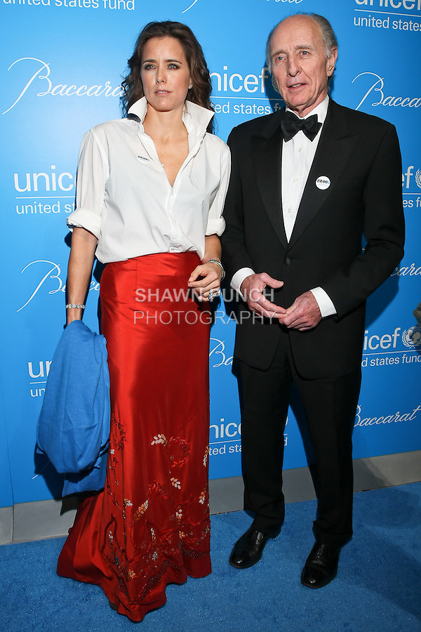 Actress Tea Leoni, and her father Anthony Pantaleoni arrive at the UNICEF Snowflake Ball, Presented by Baccarat, at Cipriani 42nd Street, November 30, 2010.