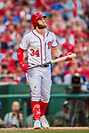 7 October 2017: Washington Nationals outfielder Bryce Harper in action during the second game of the NLDS against the Chicago Cubs at Nationals Park in Washington, DC. The Nationals rallied to defeat the Cubs 6-3 and even their best of five Postseason series at one game apiece. Mandatory Credit: Ed Wolfstein Photo *** RAW (NEF) Image File Available ***