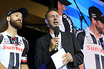 Simon Geschke (GER) Team Sunweb with MC Jens Voigt on stage at the Team Presentation in Burgplatz Dusseldorf before the 104th edition of the Tour de France 2017, Dusseldorf, Germany. 29th June 2017.<br /> Picture: Eoin Clarke | Cyclefile<br /> <br /> <br /> All photos usage must carry mandatory copyright credit (&copy; Cyclefile | Eoin Clarke)