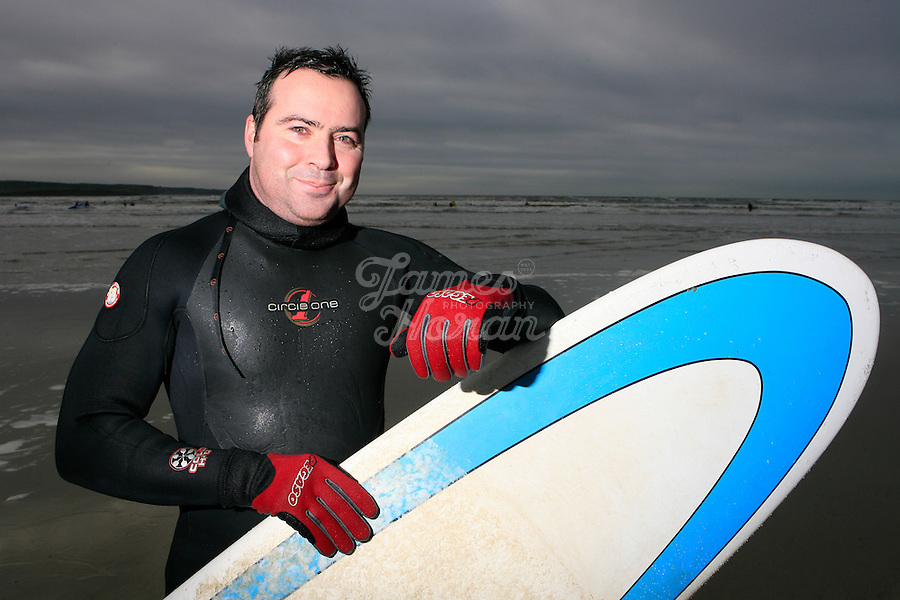 Lahinch surfer Keith Donoghue. Lahinch beach, County Clare, Ireland..Picture James Horan...www.jameshoran.com.au..ALL MY IMAGES ARE COPYRIGHT.NORMAL FEES WILL APPLY Winter Surfers, Lahinch beach, County Clare, Ireland