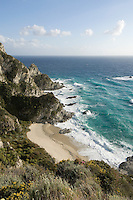 Italy, Calabria, near Tropea: coastline and beach at Capo Vaticano