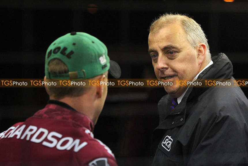 Referee Phil Griffin is seen calling the meeting off due to a waterlogged track - Lakeside Hammers vs Ipswich Witches - Sky Sports Elite League Speedway at Arena Essex Raceway, Purfleet - 28 /08/09 - MANDATORY CREDIT: Gavin Ellis/TGSPHOTO - Self billing applies where appropriate - Tel: 0845 094 6026