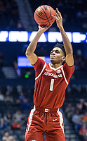 NWA Democrat-Gazette/BEN GOFF @NWABENGOFF<br /> Isaiah Joe, Arkansas guard, makes a shot in the first half vs Florida Thursday, March 14, 2019, during the second round game in the SEC Tournament at Bridgestone Arena in Nashville.