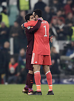 Football Soccer: UEFA Champions League Juventus vs FC Barcelona Allianz Stadium. Turin, Italy, November 22, 2017. <br /> Juventus' captain and goalkeeper Gianluigi Buffon (r) greets FC Barcelona's Luis Suarez at the end of the Uefa Champions League football soccer match between Juventus and FC Barcelona at Allianz Stadium in Turin, November 22, 2017.<br /> Juventus and Barcelona drawn 0-0. <br /> UPDATE IMAGES PRESS/Isabella Bonotto