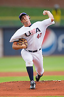 Starting pitcher Brett Mooneyham #40 of Team USA in action against Team Korea at Durham Bulls Athletic Park July 18, 2010, in Durham, North Carolina.  Photo by Brian Westerholt / Four Seam Images