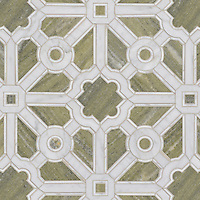Jardin, a handmade mosaic shown in polished Verde Luna, Calacatta and Carrara, is part of the Parterre Collection by Paul Schatz for New Ravenna.