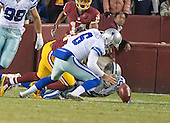 Dallas Cowboys punter Chris Jones (6) recovers a DeSean Jackson fumble late in the fourth quarter against the Washington Redskins at FedEx Field in Landover, Maryland on Monday, December 7, 2015. The fumble led to the Cowboys touchdown.  The Cowboys won the game 19-16.<br /> Credit: Ron Sachs / CNP