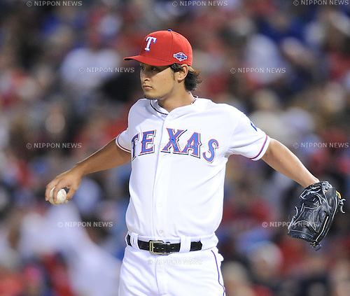 Yu Darvish (Rangers),.OCTOBER 5, 2012 - MLB :.Yu Darvish of the Texas Rangers stretches his shoulder in the sixth inning during the American League Wild Card Playoff game against the Baltimore Orioles at Rangers Ballpark in Arlington in Arlington, Texas, United States. (Photo by AFLO)