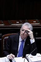 Il Presidente del Consiglio Mario Monti..Roma 12/1/2012  Informativa urgente del Governo alla Camera dei Deputati,  sugli sviluppi recenti e le prospettive della politica europea..Foto Insidefoto  Serena Cremaschi.............