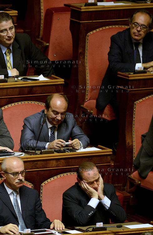 Roma, 2 Ottobre 2013<br /> Senato <br /> Silvio Berlusconi dagli scranni del PDL durante l'intervento del Primo  Ministro Enrico Letta