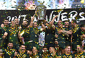 2nd December 2017, Brisbane, Australia;  Rugby League World Cup - England versus Australia - Land Park, Brisbane, Australia . The Australian team celebrate with the trophy after defeating England in the final.