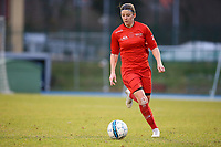 20191221 - WOLUWE: Woluwe's Lynn Senaeve in action during the Belgian Women's National Division 1 match between FC Femina WS Woluwe A and KAA Gent B on 21st December 2019 at State Fallon, Woluwe, Belgium. PHOTO: SPORTPIX.BE | SEVIL OKTEM