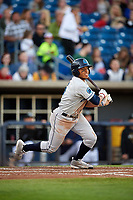 Lake County Captains left fielder Todd Isaacs (6) follows through on a swing during a game against the Quad Cities River Bandits on May 6, 2017 at Modern Woodmen Park in Davenport, Iowa.  Lake County defeated Quad Cities 13-3.  (Mike Janes/Four Seam Images)