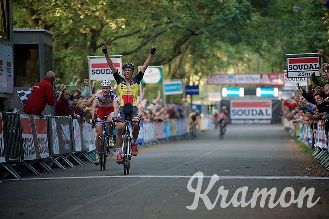 Sven Nys (BEL/Crelan-AAdrinks) wins the sprint over Klaas Vantornout (BEL/Sunweb-Napoleon Games) <br /> <br /> GP Neerpelt 2014