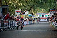 Sven Nys (BEL/Crelan-AAdrinks) wins the sprint over Klaas Vantornout (BEL/Sunweb-Napoleon Games) <br /> <br /> GP Neerpelt 2014