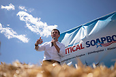 2020 Democratic Presidential Hopeful Peter Buttigieg speaks at the Des Moines Register Political Soapbox as he tours the Iowa State Fair in Des Moines, Iowa on August 13, 2019. Credit: Alex Edelman / CNP