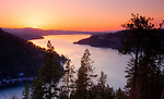Idaho, North, Coeur d'Alene. A twilight view over the north end of Lake Coeur d'Alene from Mineral ridge, between Beauty and Wolf Lodge Bays.
