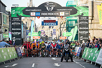 Picture by Allan McKenzie/SWpix.com - 17/05/2018 - Cycling - OVO Energy Tour Series Mens Race Round 3:Aberdeen - The race prepares to roll out under the gantry, OVO Energy, branding.