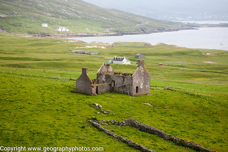 Vatersay House ruin in village of Bhatarsaigh, Vatersay, Barra, Outer Hebrides, Scotland, UK