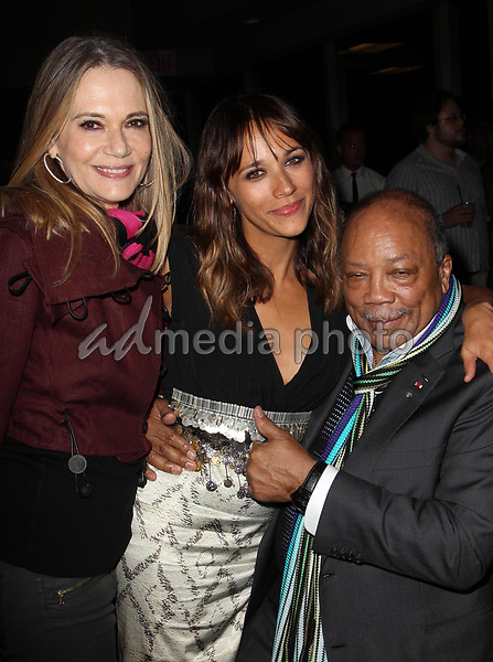 """11 May 2019 - Peggy Lipton, star of 'Mod Squad' and 'Twin Peaks,' ex-wife of Quincy Jones, dies at 72 from cancer. File Photo: 21 June 2012 - Hollywood, California - Peggy Lipton, Rashida Jones, Quincy Jones. - 2012 Los Angeles Film Festival - """"Celeste And Jesse Forever"""" - After Party Held at FigOly Restaurant, Luxe City Center Hotel. Photo Credit: Kevan Brooks/AdMedia"""