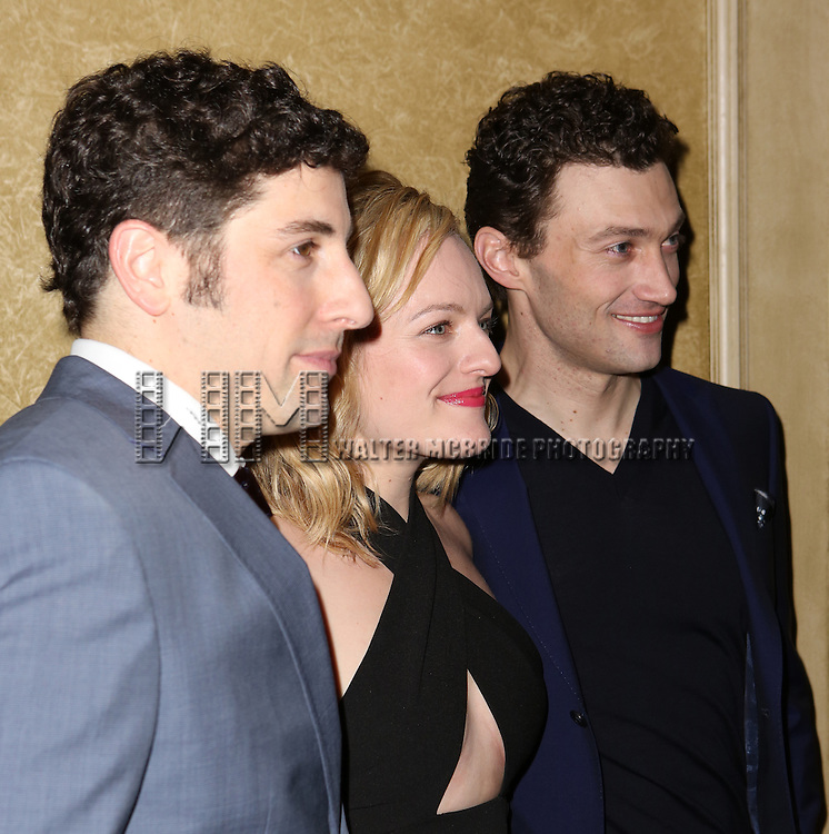Jason Biggs, Elisabeth Moss and Bryce Pinkham attends the Broadway Opening Night press reception for 'The Heidi Chronicles'  at The Music Box Theatre on March 19, 2015 in New York City.