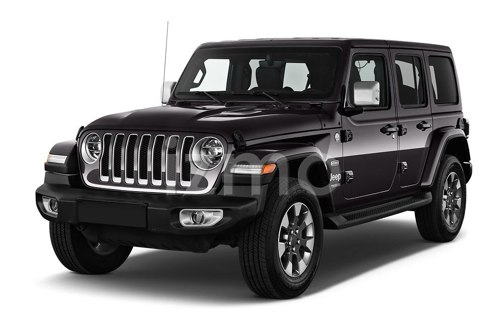 2019 Jeep Wrangler Unlimited Sahara 5 Door SUV angular front stock photos of front three quarter view