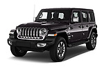 2019 Jeep Wrangler Unlimited Sahara 5 Door SUV angular front stock photos of front three quarter view