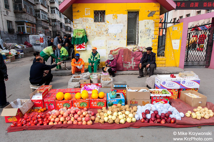 Vendors selling produce in Datong, China