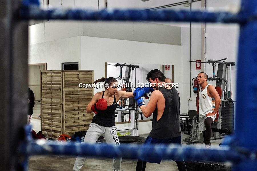 Training session of young amateur boxer in Pilar de la Horadada in Alicante boxing club.