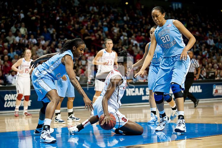 SPOKANE, WA - MARCH 26, 2011: Chiney Ogwumike, Stanford Women's Basketball vs University of North Carolina, NCAA West Regionals on March 26, 2011.