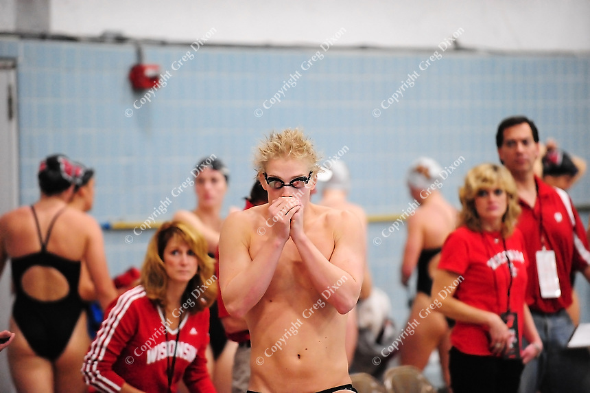 Wisconsin's Brett Nagle warms up at the UW Natatorium on Friday in Madison