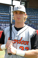July 31, 2005:  Outfielder Nolan Reimold of the Aberdeen Ironbirds before a game at Russell Diethrick Park in Jamestown, NY.  Aberdeen is the Short Season Single-A NY-Penn League affiliate of the Baltimore Orioles.  Photo By Mike Janes/Four Seam Images