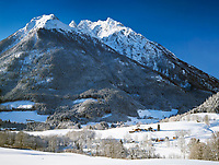 Deutschland, Bayern, Oberbayern, Berchtesgadener Land, Winterlandschaft bei Ramsau vorm Watzmann | Germany, Upper Bavaria, Berchtesgadener Land, winter scenery near Ramsau and Watzmann mountain