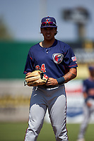 Lancaster JetHawks third baseman Colton Welker (24) during a California League game against the Inland Empire 66ers at San Manuel Stadium on May 20, 2018 in San Bernardino, California. Inland Empire defeated Lancaster 12-2. (Zachary Lucy/Four Seam Images)