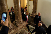 FEBRUARY 5, 2019 - WASHINGTON, DC: President Donald Trump after the State of the Union address at the Capitol in Washington, DC on February 5, 2019. <br /> Credit: Doug Mills / Pool, via CNP