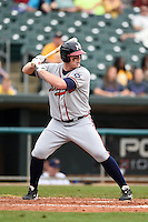 Mississippi Braves outfielder Robby Hefflinger (32) during a game against the Montgomery Biscuits on April 22, 2014 at Riverwalk Stadium in Montgomery, Alabama.  Mississippi defeated Montgomery 6-2.  (Mike Janes/Four Seam Images)