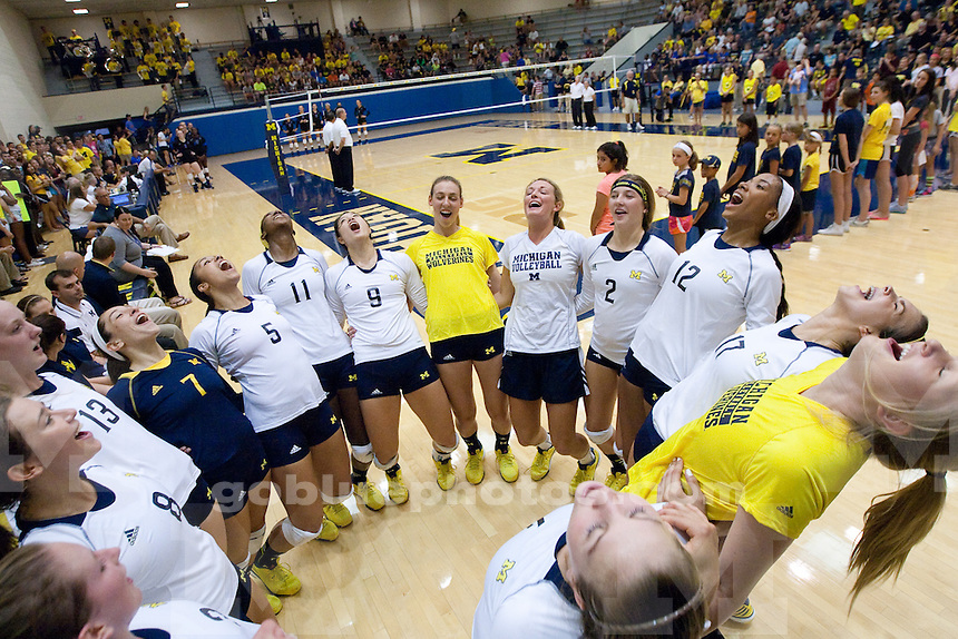 The University of Michigan women's volleyball team; 3 games to 2 victory over Duke University at Cliff Keen Arena  in Ann Arbor, Mich., on September5, 2014.