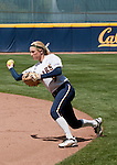 April 15, 2012:  California Bears  second baseman Jace Williams makes the throw to first against the Arizona Wildcats during their NCAA softball game played at Levine-Fricke Field on Sunday afternoon in Berkeley, California.  California won the game 6-0.