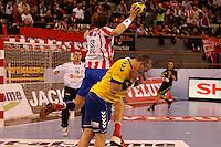 28.04.2012 MADRID, SPAIN -  EHF Champions League match played between BM At. Madrid vs  Cimos Koper (31-24) at Palacio Vistalegre stadium. The picture show  Jonas Kallman (BM Atletico de Madrid)