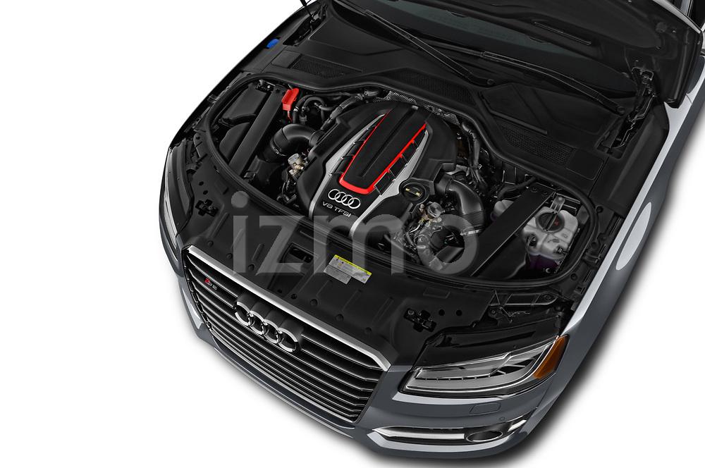 Car stock 2016 Audi S8 4.0-TFSI-quattro-Tiptronic-Plus  4 Door Sedan engine high angle detail view