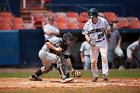 Lehigh Mountain Hawks catcher Jeff Shanfeldt (23) picks up the ball after blocking a pitch in front of batter Rob Emery (28) during a game against the Dartmouth Big Green on March 20, 2016 at Chain of Lakes Stadium in Winter Haven, Florida.  Dartmouth defeated Lehigh 5-4.  (Mike Janes/Four Seam Images)