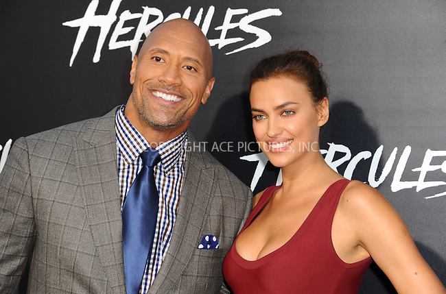 ACEPIXS.COM<br /> <br /> July 23 2014, LA<br /> <br /> Actors Dwayne Johnson (L) and Irina Shayk arriving at the Premiere Of Paramount Pictures' 'Hercules' at the TCL Chinese Theatre on July 23, 2014 in Hollywood, California. <br /> <br /> <br /> By Line: Peter West/ACE Pictures<br /> <br /> ACE Pictures, Inc.<br /> www.acepixs.com<br /> Email: info@acepixs.com<br /> Tel: 646 769 0430